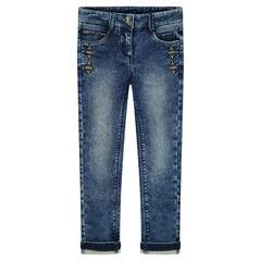 Slim-fit jeans van molton met borduurwerk