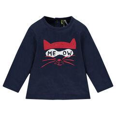 T-shirt met lange mouwen uit jerseystof met kattenprint