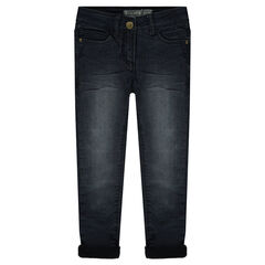 Jeans met used en crinkle effect en voering van microfleece