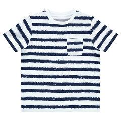 T-shirt met korte mouwen en marineprint