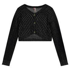 Bolero van tricot met ribstof en zilveren draad