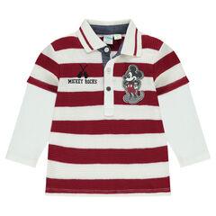 Polo met lange mouwen en 2-in-1 effect en badge van Disney's Mickey