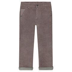 Pantalon en velours ras taupe
