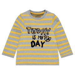 T-shirt met lange, gestreepte mouwen uit jerseystof en met print met boodschap
