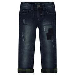 Jeans met used-effect en gevoerd met geruite flanel