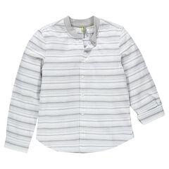 Junior - Chemise manches longues rayé avec col fantaisie