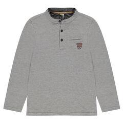 Junior - Polo met lange mouwen met micro jacquard met badge