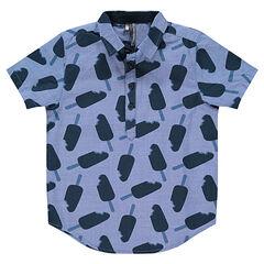 Chemise manches courtes en chambray avec glaces imprimées