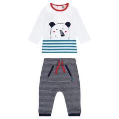 Ensemble tee-shirt print ourson et pantalon à chevrons