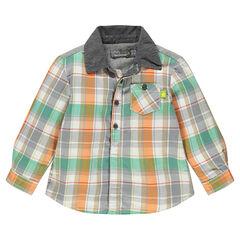 Chemise en flanelle à carreaux avec col contrasté