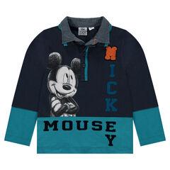 Polo van jerseystof en chambray van Disney's Mickey