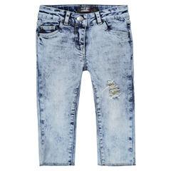 Junior - Jeans capri met used effect