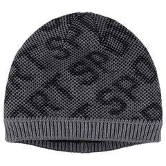 Bonnet en tricot motif jacquard doublé sherpa