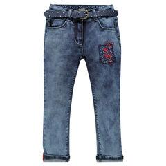 7/8-broek in jeans afneembare riem met stippen fantasiepatch