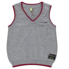 Trui zonder mouwen in tricot opgezette zak