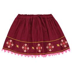 Wijde geborduurde rok uit decoratieve voile