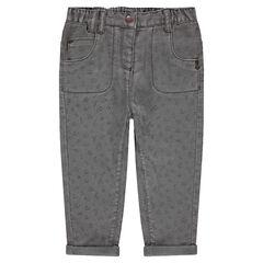 Katoenen broek met print en voering van jerseystof