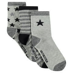 Set van 3 paar matching sokken met strepen en sterren
