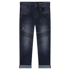 Slim fit jeans met used effect en sierstiksels