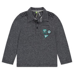 Polo en jacquard avec poche et badges patchés
