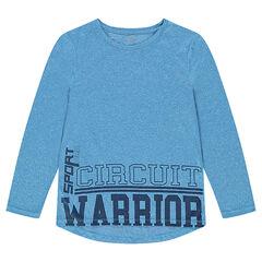 Gemêleerd blauw shirt met lange mouwen en opschriften