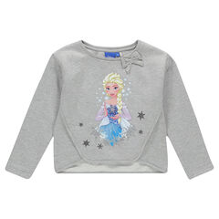 Sweat court en molleton gratté avec noeud et print Disney la Reine des Neiges