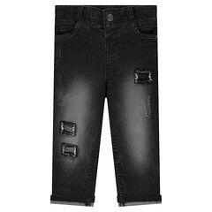 Slim fit jeans met decoratieve slijtage
