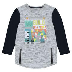 Junior - T-shirt met lange mouwen met ritssluiting en print