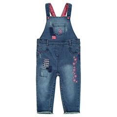 Salopette en jeans avec patchs et broderies