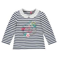 T-shirt met lange mouwen met marineprint, fijn kraagje en borduurwerk