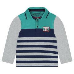 Polo met lange mouwen en badge in gestreepte jerseystof