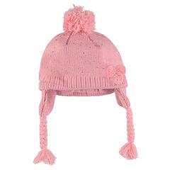 Bonnet péruvien en tricot pailleté avec pompons et doublure micropolaire