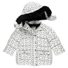 Doudoune doublée sherpa à capuche amovible et fausse fourrure