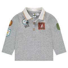 Polo van jerseystof met lange mouwen en ©Smiley badges