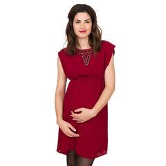 Zwangerschapsjurk met korte mouwen en parels aan de hals