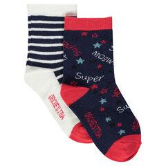Lot de 2 paires de chaussettes assorties rayées /à motifs