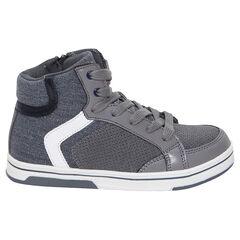 Hoge sneakers met veters en ritssluiting uit twee materialen