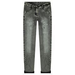 Junior - Skinny jeans met sneeuwvlokeffect en hartenpatch van lovertjes