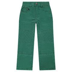 Effen straight-fit broek met siernaden