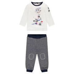 Ensemble tee-shirt manches longues printé et pantalon rayé