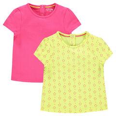 Set met 2 shirts met korte mouwen, effen/bedrukt
