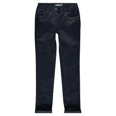 Junior - Pantalon slim en twill enduit