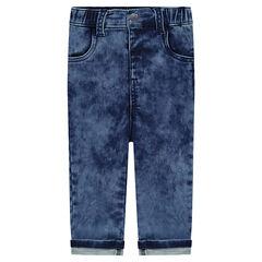 Jeans van molton met sneeuwvlokeffect