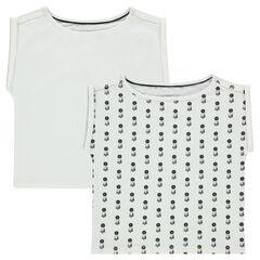 Set met 2 shirts met korte mouwen, ronde snit, effen/bedrukt