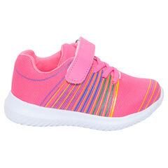 Lage, roze sneakers met elastische veters en klittenbandsluiting