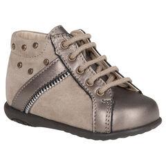Boots in leder veters bronskleur opening met ritssluiting met fantasie