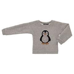 Sweat en molleton fantaisie avec pingouin en sequins magiques