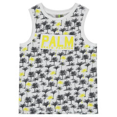 Débardeur en jersey slub imprimé palmiers