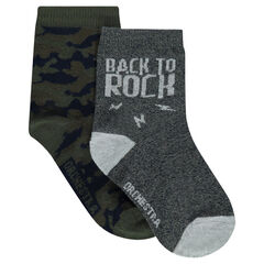 Lot de 2 paires de chaussettes assorties army / unies