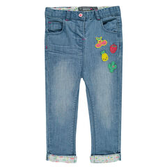 Slim fit jeans met fruitbadges